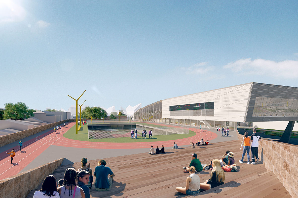 Perspective Of A View Of The Track Of Athletics Located On The Roof Of The College Jacques Ellul In Bordeaux For Which Applied The Agency Bulle Architectes.