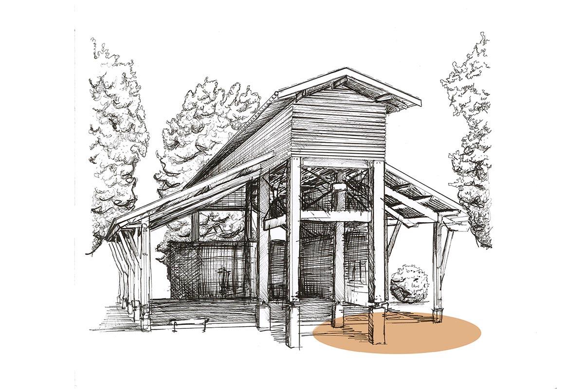 Dessin Au Trait D'une Vue Globale Du Boulodrome De Gujan-Mestras Réalisé Par L'agence Bulle Architectes.