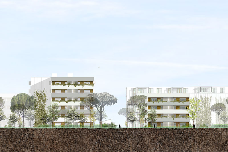 Elevation Of The Rehabilitation Of The Ariane And Saraillère Residences In Cenon Following A Competition Won By The Agency Bulle Architectes.