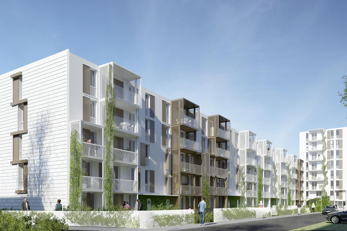 3D View Of The Balconies Of The Ariane And Saraillère Residences In Cenon For Which Bulle Architectes Applied.
