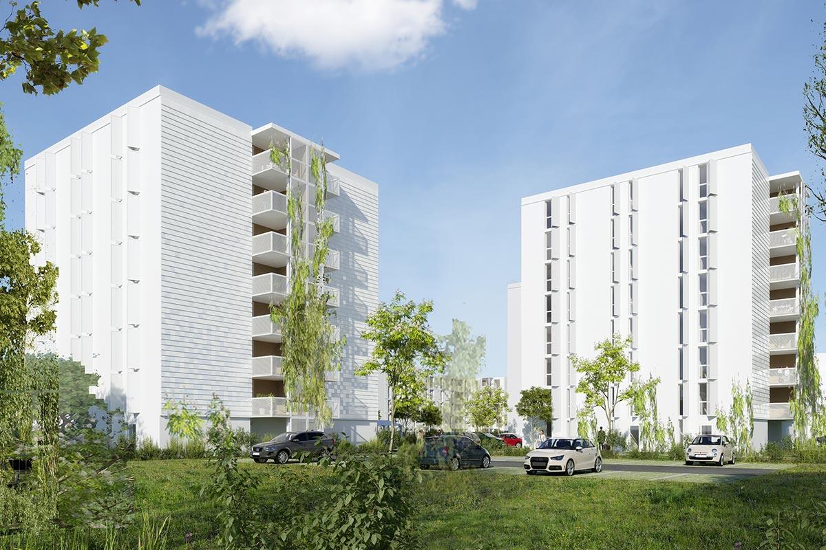 Vue 3D Des Façades Avec Balcons Et Fenêtre Des Résidences Ariane Et Saraillère à Cenon Pour Lesquelles A Candidaté L'agence Bulle Architectes.