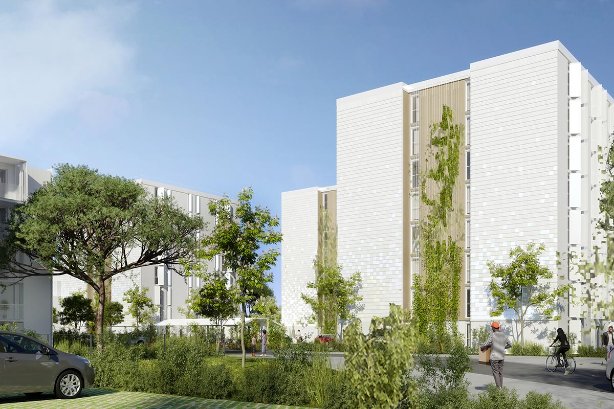 3D Image Of A View From The Car Park Of The Ariane And Saraillère Residences In Cenon For Which Bulle Architectes Applied.