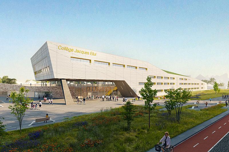 Perspective De La Vue Depuis La Rue Du Collège Jacques Ellul à Bordeaux Pour Lequel A Candidaté L'agence Bulle Architectes.