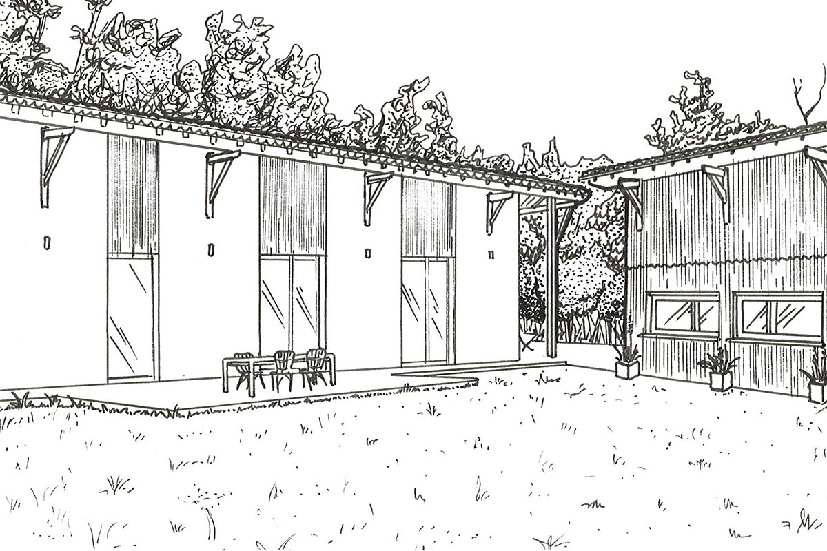 Drawing Of An Individual House By Bulle Architectes In Biscarrosse.