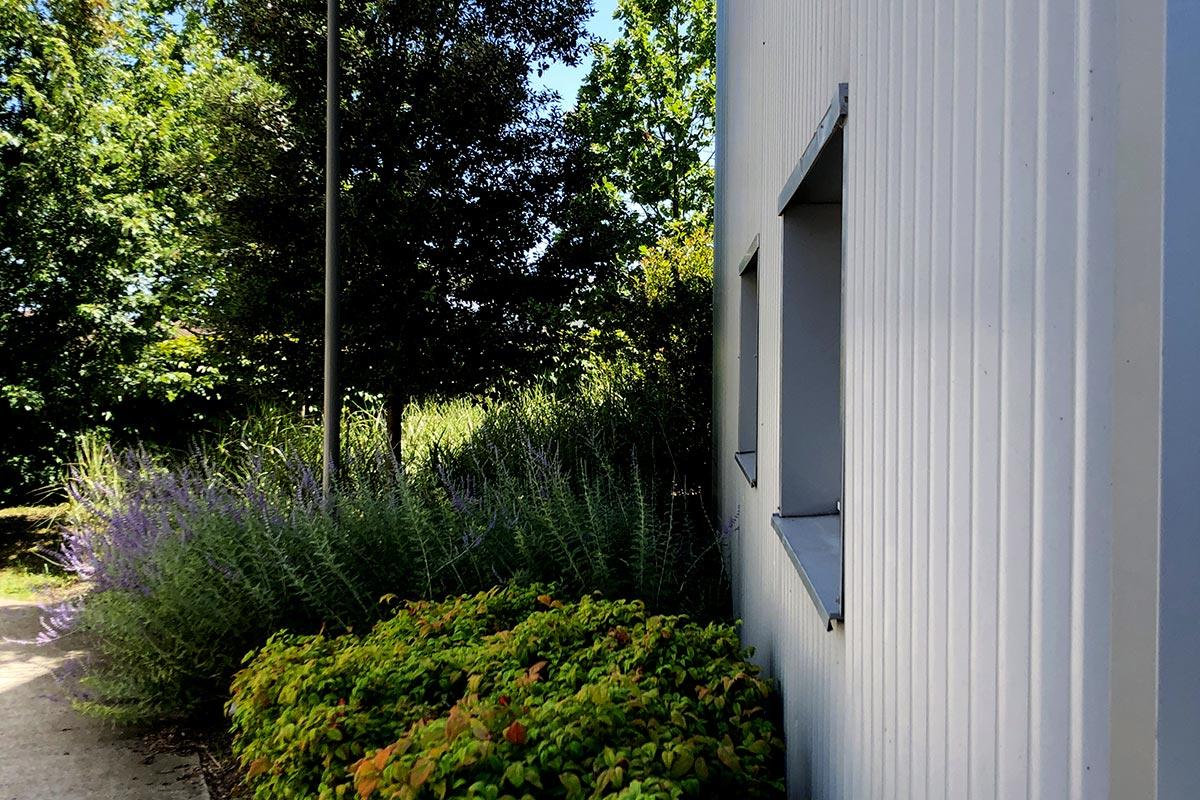 Zoom Sur La Végétation Et La Façade En Tôle Ondulée Grise De La Résidence Tiscot Située à Blanquefort Et Réalisée Par L'agence Bulle Architectes.