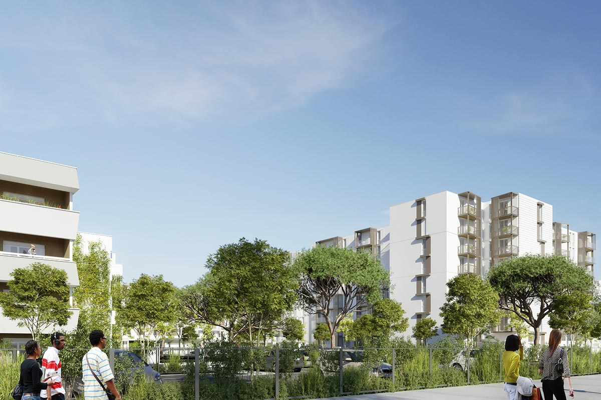 3D Image Of A Street View Of The Rehabilitation Project Of The Ariane And Saraillère Residences In Cenon For Which The Agency Bulle Architectes Applied.