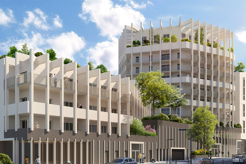 3D View Of The Main Facade Of The After Eight Residence In Bordeaux Under Construction By Bulle Architectes.