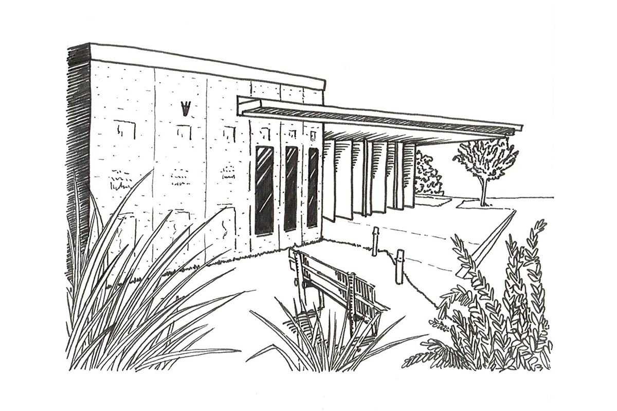 Drawing Of The Line Of The Town Hall Of Montpouillan Made By The Agency Bulle Architectes With Its Surrounding Vegetation.