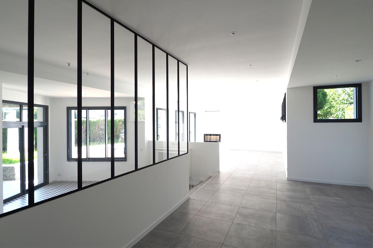 Entrance Hall With Glass Roof On The Left Of A Detached House Built By Bulle Architectes In Anglet.