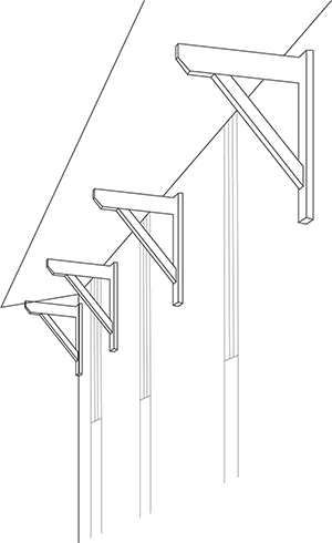 Pictogram representative of the wooden crossties and underside of a detached house realized by Bulle Architectes in Biscarrosse.