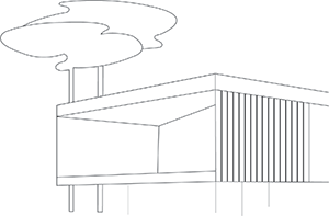 Pictogram representative of the strong architectural form of the SIBA realized by the agency Bulle Architectes in Biganos.