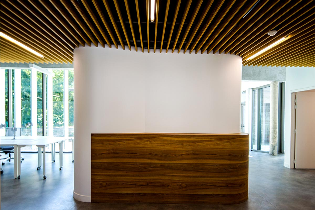 Interior View Of The SIBA With Wooden Beams On The Ceiling That Bring Depth, Realized In Biganos By The Agency Bulle Architectes.