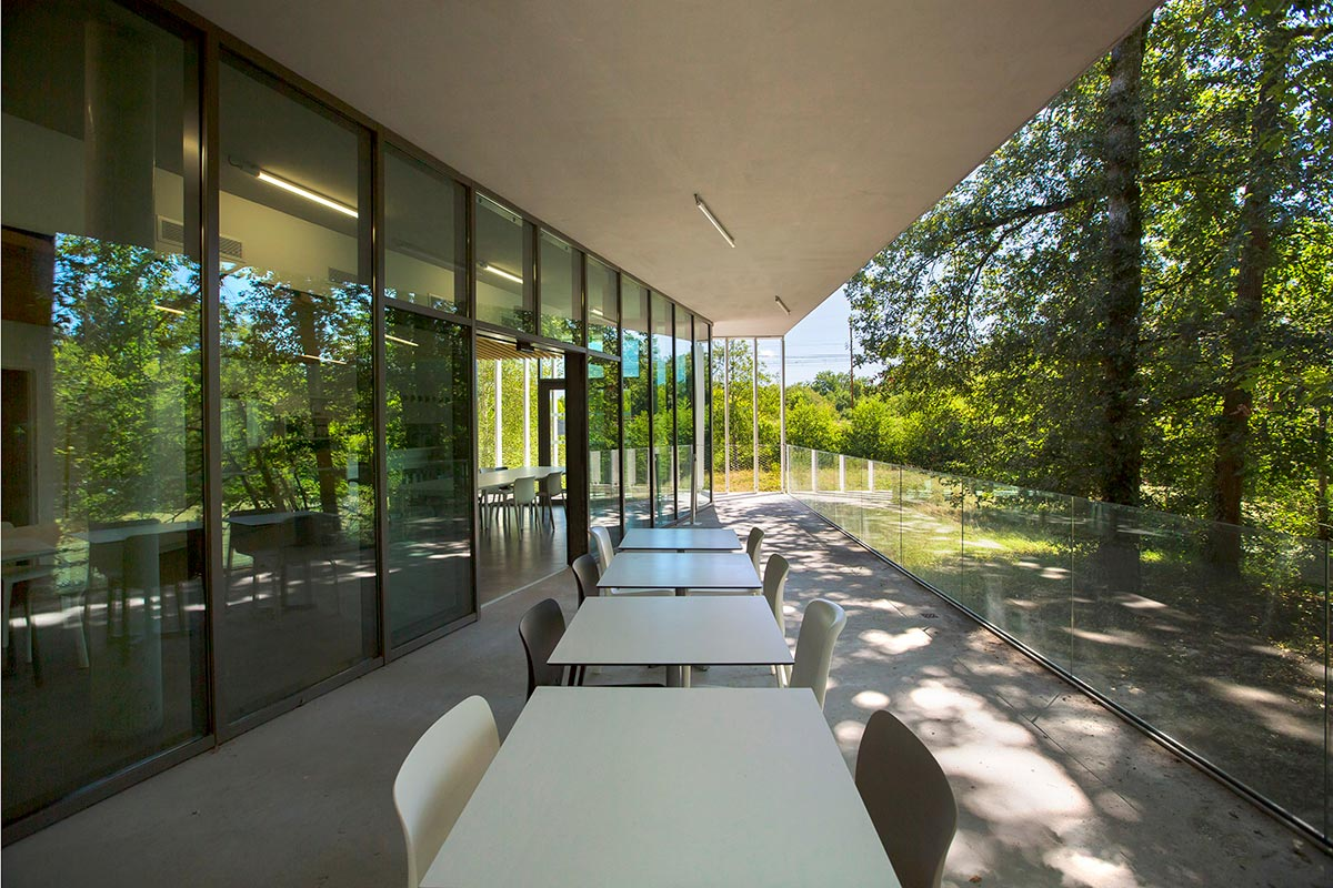 Outdoor Covered Terrace Overlooking The Forest Of The SIBA Realized By The Agency Bulle Architectes In Biganos.