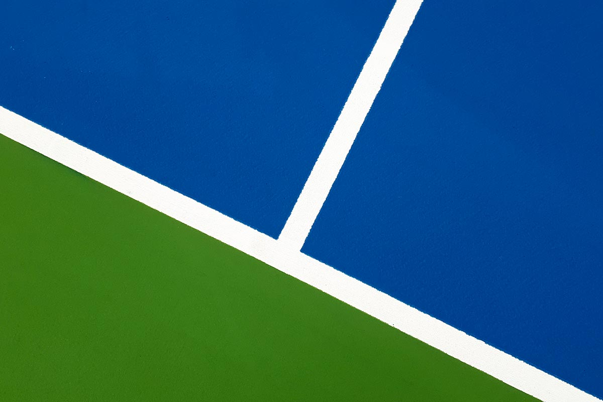 Detail Of The Blue, White And Green Floor Paintings Made On The Tennis Courts Of The Teich Tennis Club.