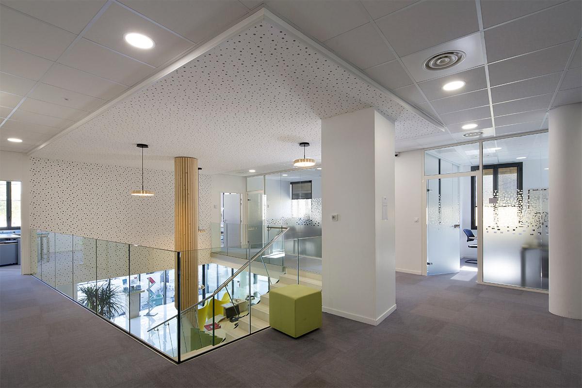Premier étage Des Bureaux D'Axanis Réalisés Par Bulle Architectes à Bordeaux.