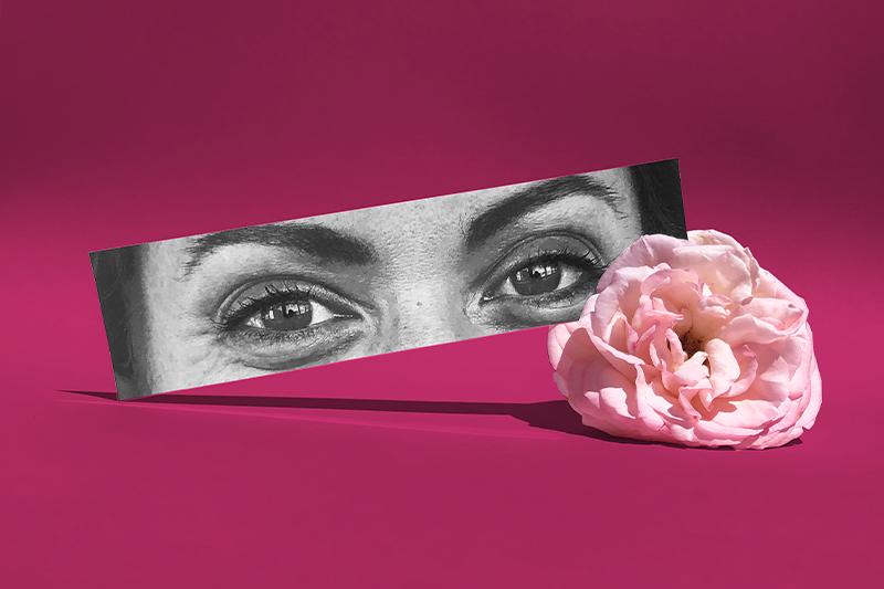 Mise En Scène Photographique Sur Fond De Couleur Du Regard D'une Collaboratrice Sandra De L'agence Bulle Architectes.